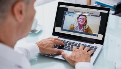 Doctor on a video chat with a patient.